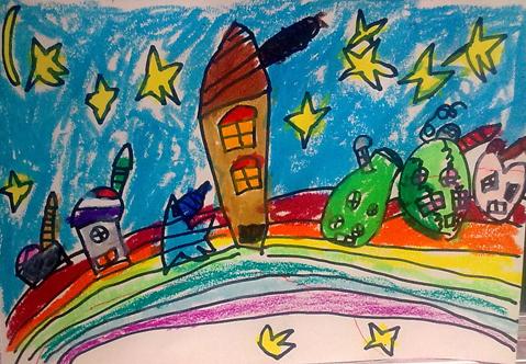 彩虹橋和七彩房子
